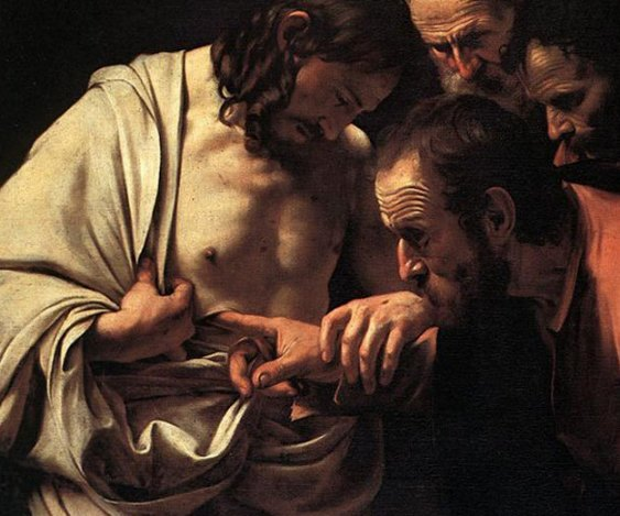 Michelangelo Merisi (or Amerighi) da Caravaggio's painting of Jesus showing and letting Thomas touch his wounds.