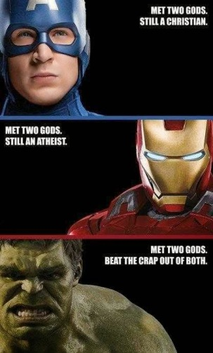 Avengers meme that confuses God and god.  There is a difference.