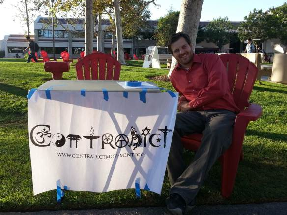 Contradict evangelism table at Saddleback Community College.
