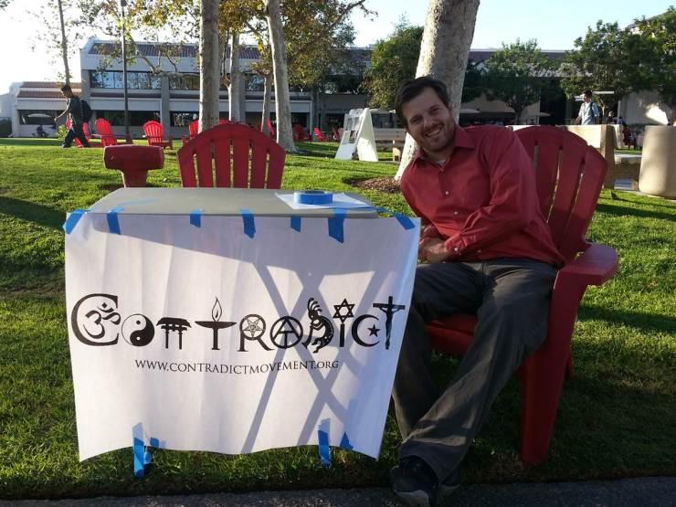 Contradict evangelism table at Saddleback Community College.